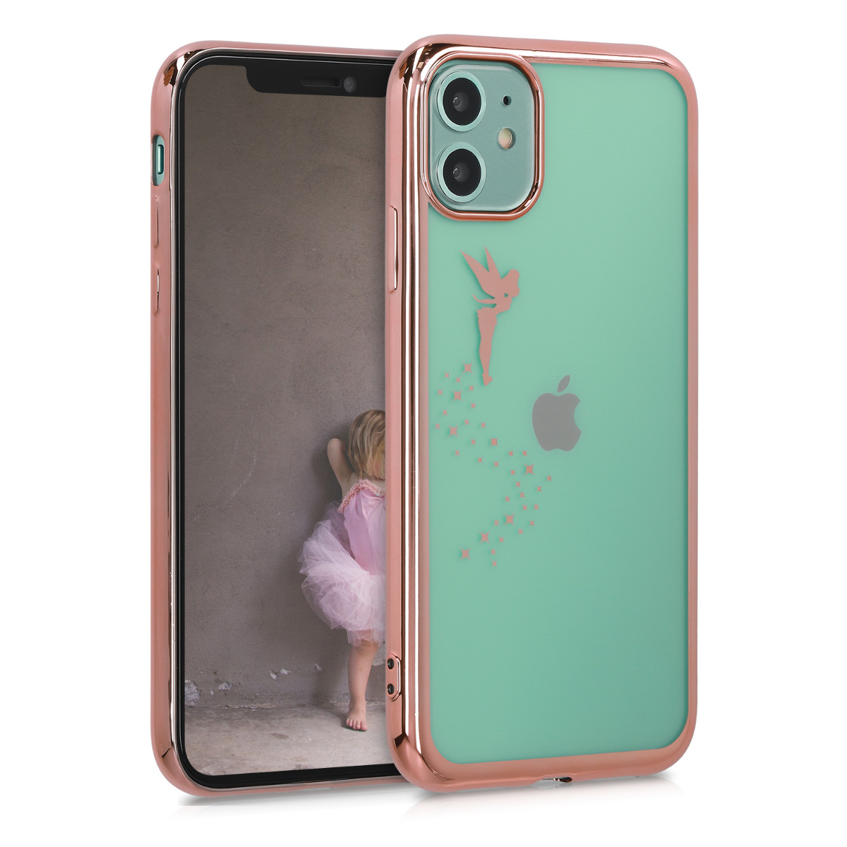 KW Θήκη Σιλικόνης Apple iPhone 11 - Fairy - Rose Gold / Transparent (50886.01)