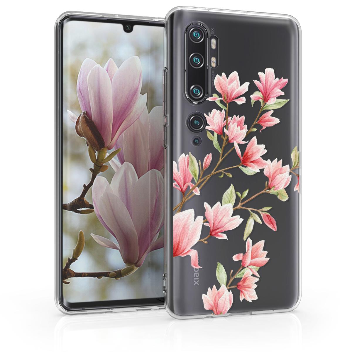 KW Θήκη Σιλικόνης Xiaomi Mi Note 10 / Note 10 Pro - Magnolias - Light Pink / White / Transparent (50954.02)