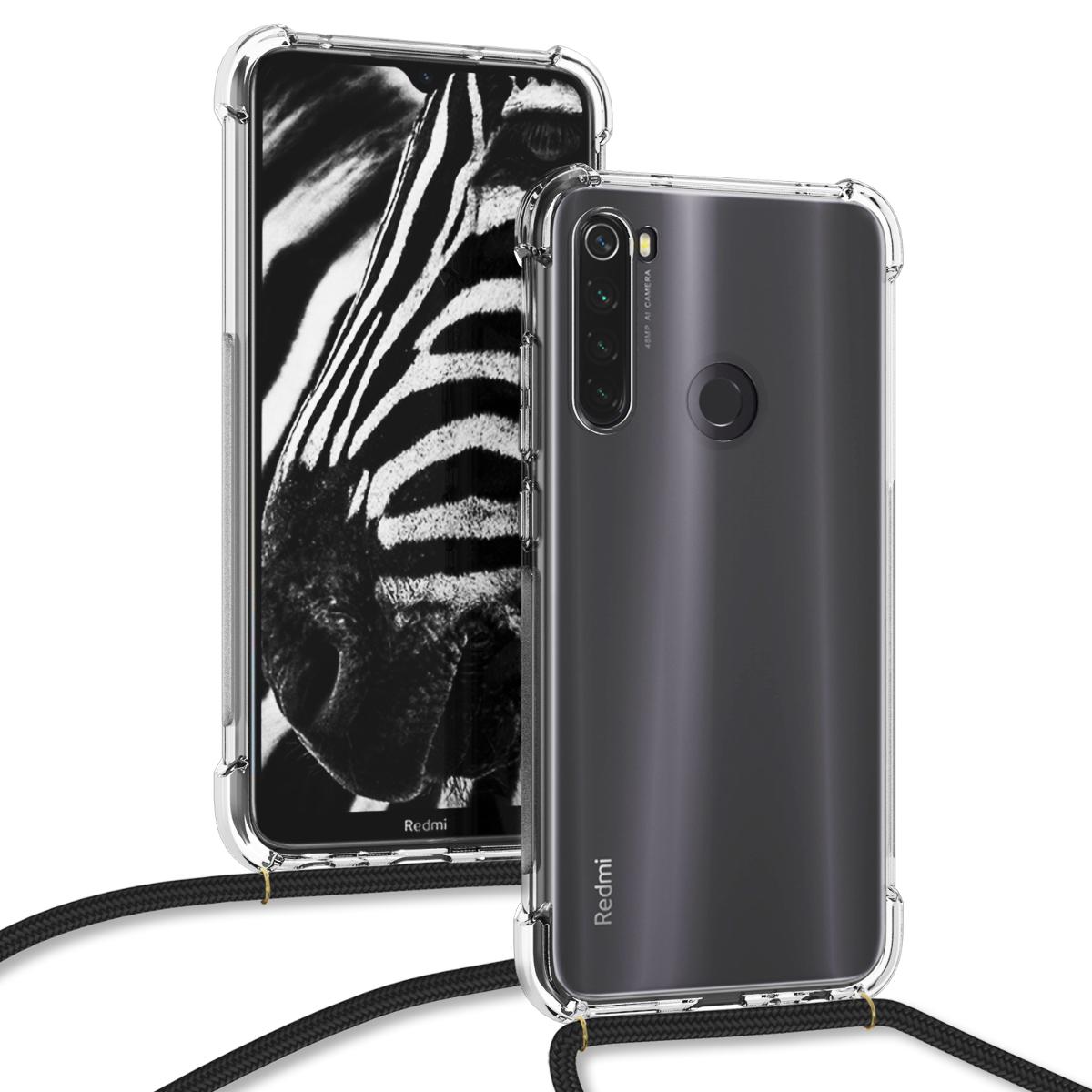KW Θήκη Σιλικόνης με Λουράκι Λαιμού Xiaomi Redmi Note 8T - Transparent / Black (50958.01)