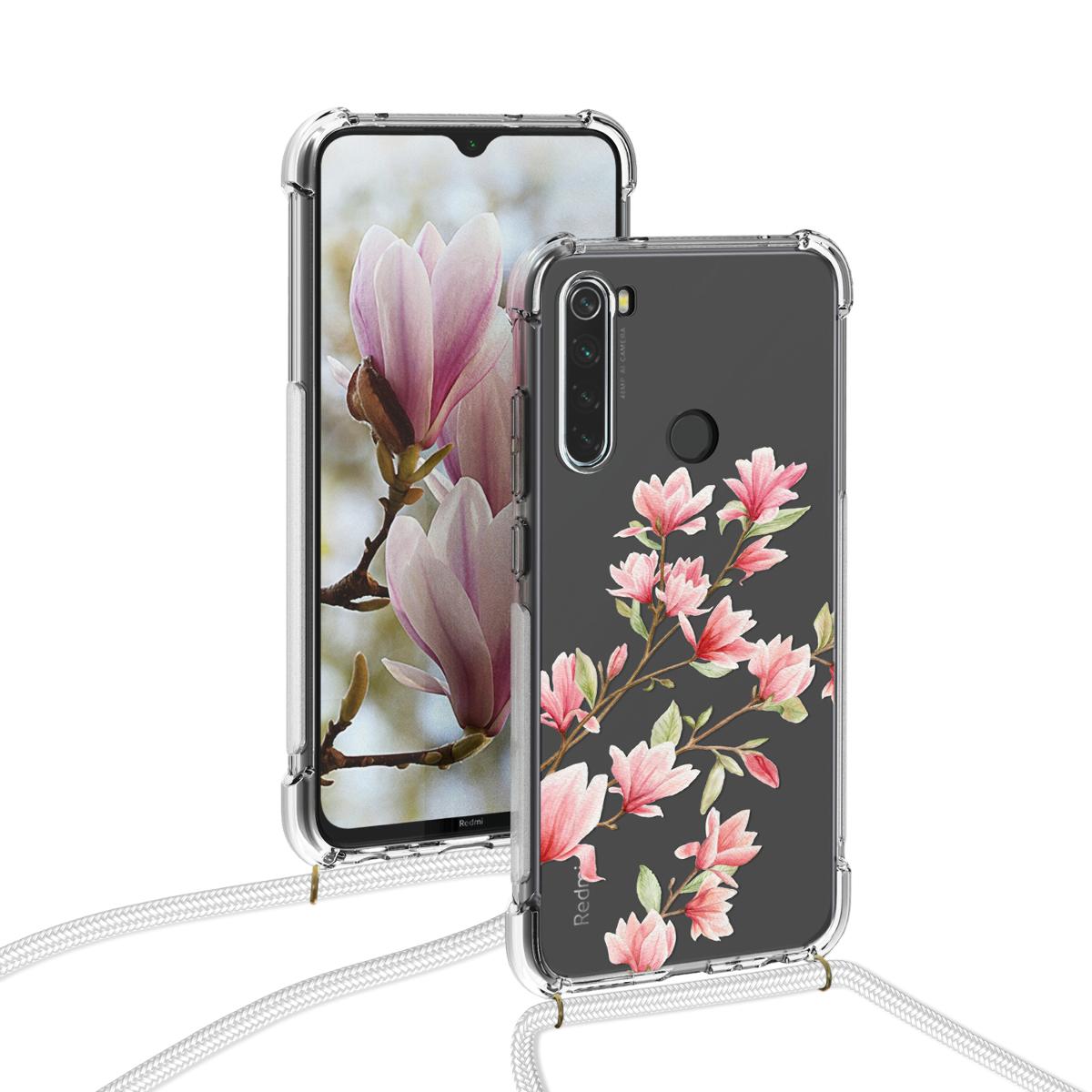 KW Θήκη Σιλικόνης με Λουράκι Λαιμού Xiaomi Redmi Note 8 - Magnolias - Light Pink / White / Transparent (50986.02)