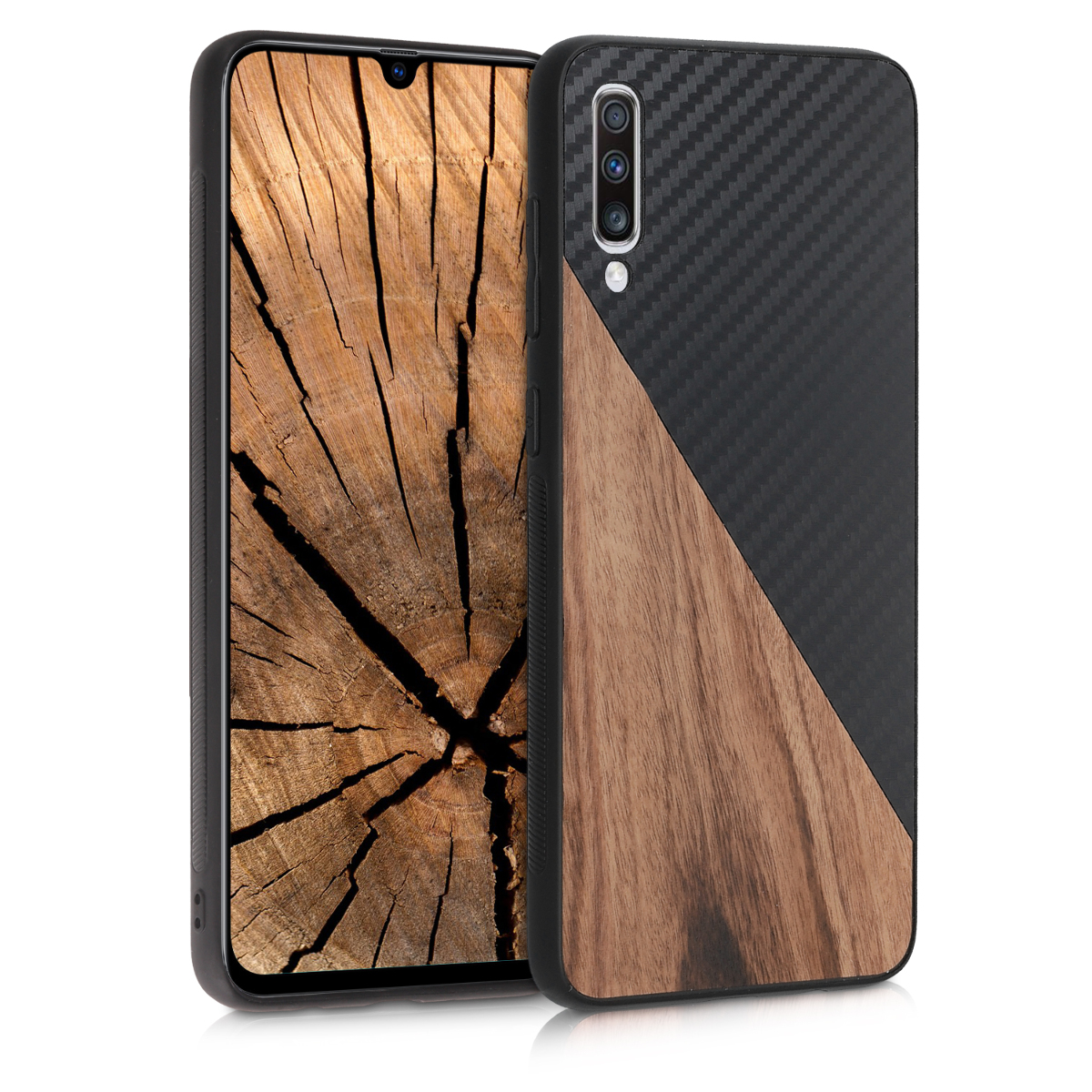 KW Σκληρή Θήκη Samsung Galaxy A70 - TPU Bumper and Wood / Carbon Fiber - Dark Brown / Black (50996.01)