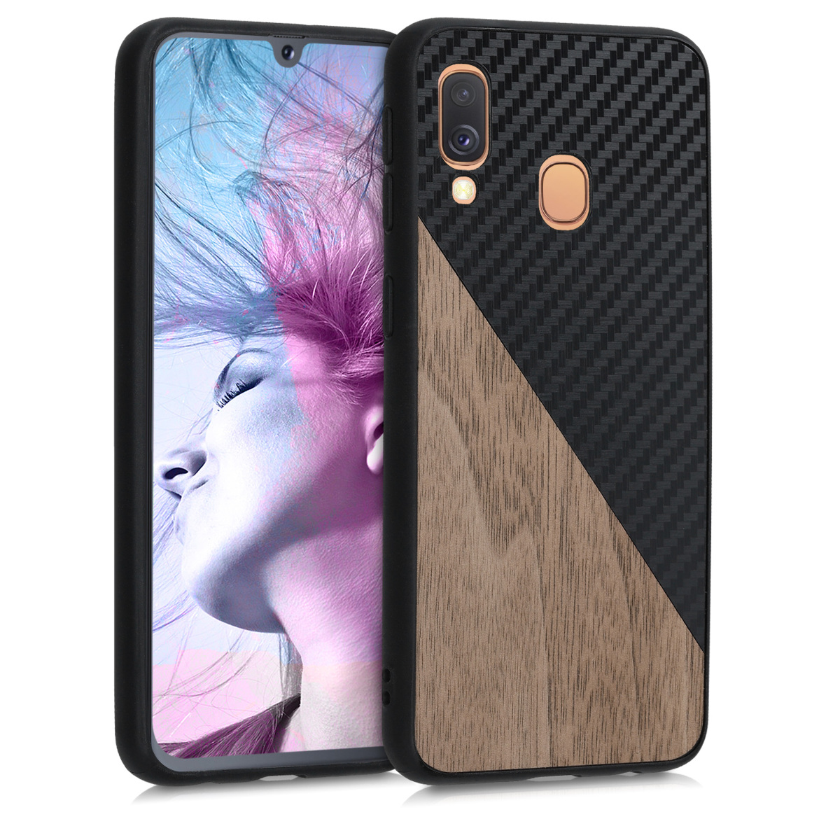 KW Σκληρή Θήκη Samsung Galaxy A40 - TPU Bumper and Wood / Carbon Fiber Back - Dark Brown / Black (50997.01)
