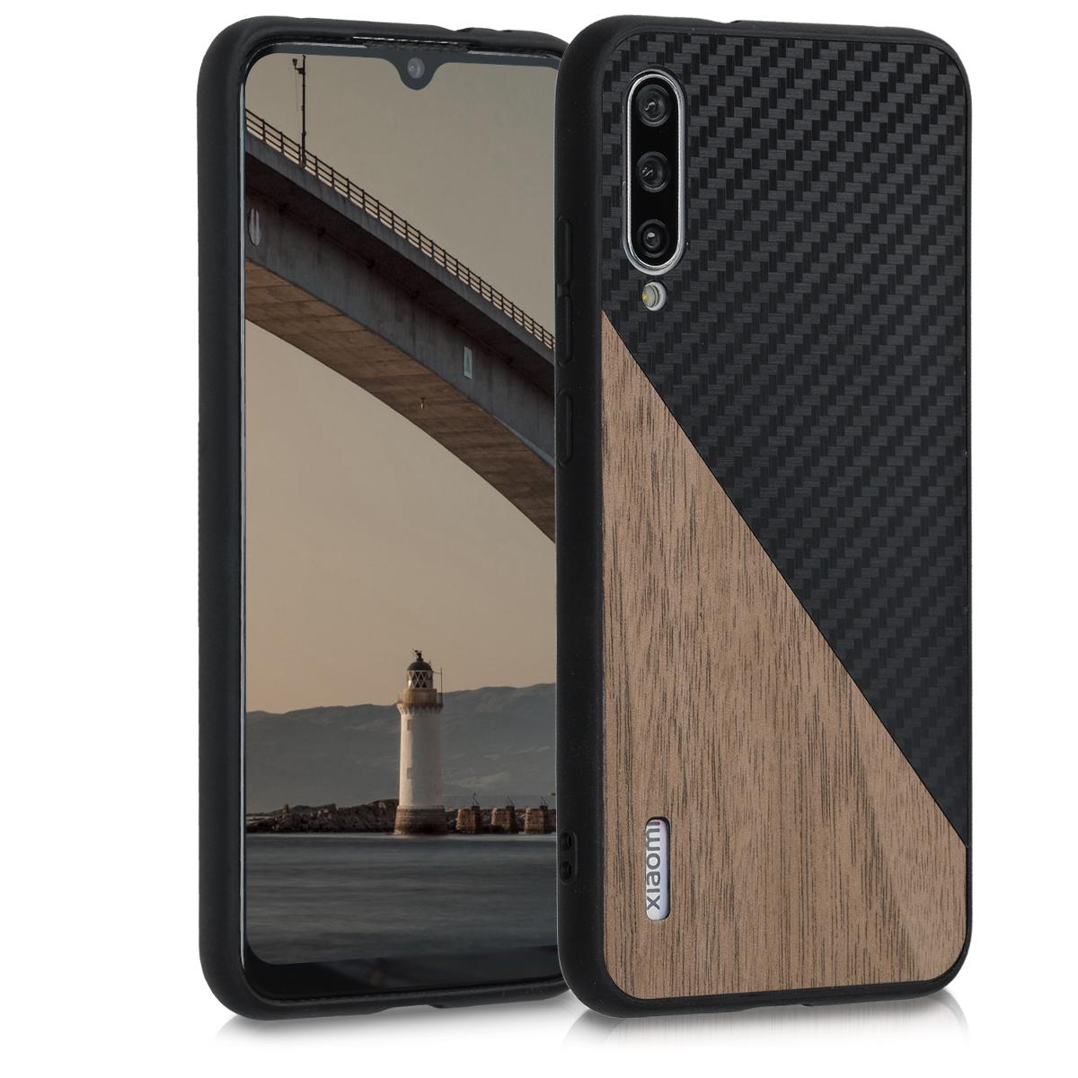 KW Σκληρή Θήκη Xiaomi Mi A3 - TPU Bumper and Wood / Carbon Fiber - Dark Brown / Black (50998.01)