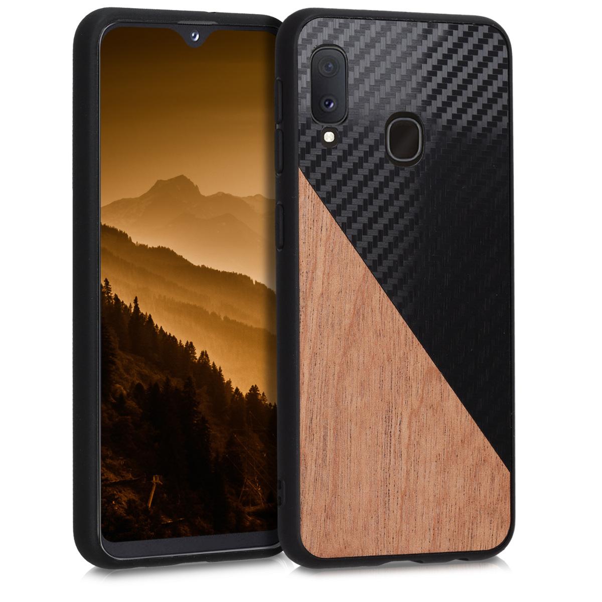 KW Σκληρή Θήκη Samsung Galaxy A20e - TPU Bumper and Wood / Carbon Fiber - Dark Brown / Black (51000.01)