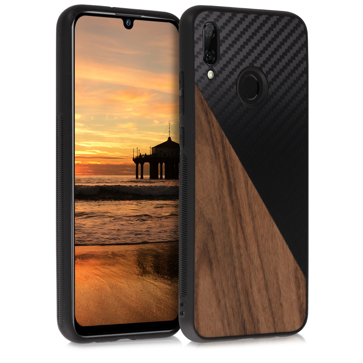 KW Σκλήρη Θήκη Huawei P Smart 2019 - TPU Bumper and Wood / Carbon Fiber - Dark Brown / Black (51031.01)