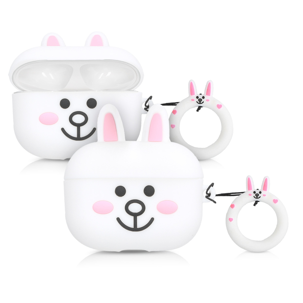 KW Θήκη Σιλικόνης για AirPods Pro - Bunny Design Black / Light Pink / White (51055.03)