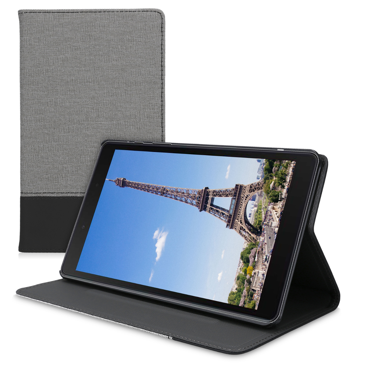 KW Θήκη Samsung Galaxy Tab A 8.0 2019 - PU Leather and Canvas Protective Cover - Grey / Black (51057.01)