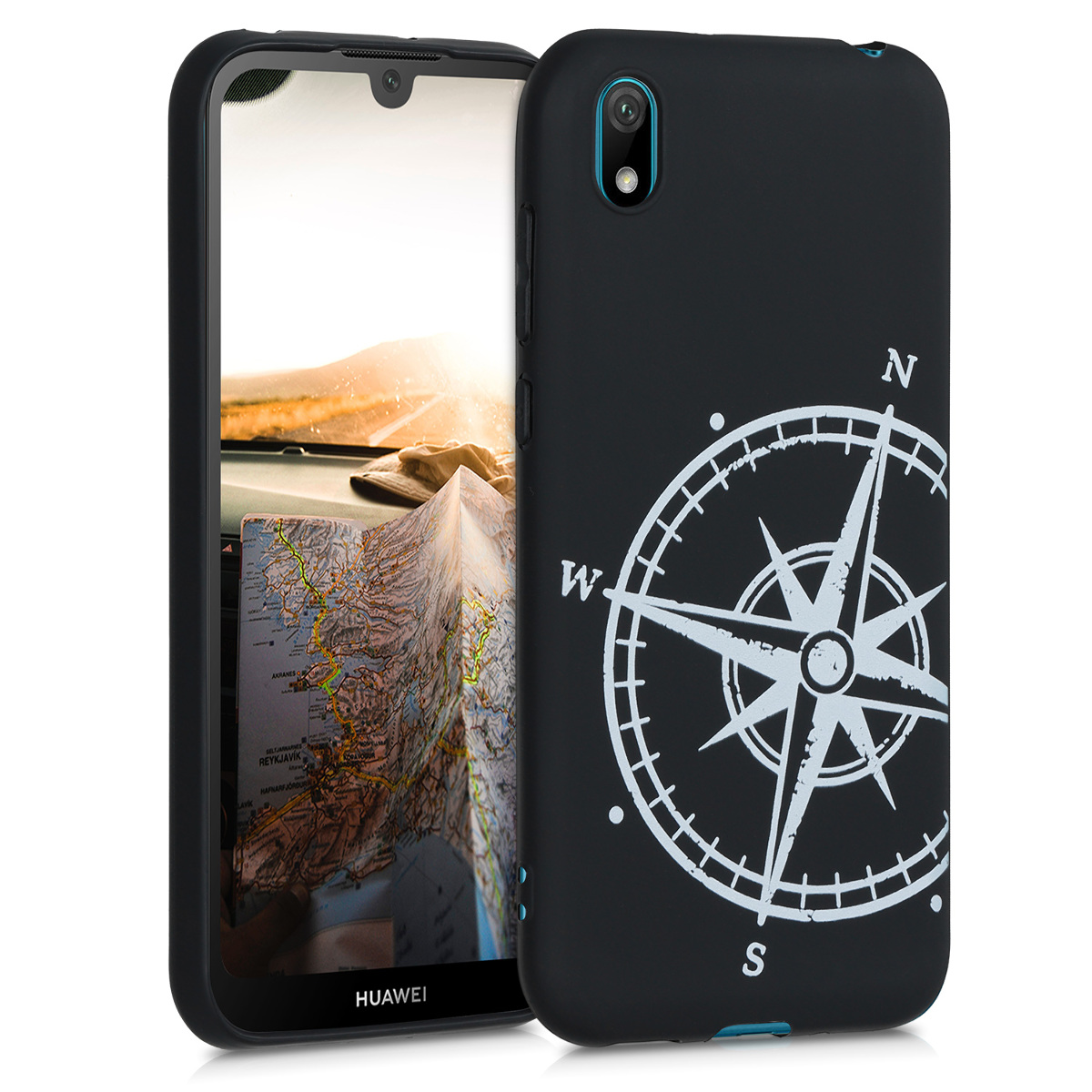KW Θήκη Σιλικόνης Huawei Y5 2019 - Navigational Compass - White / Black (51080.02)