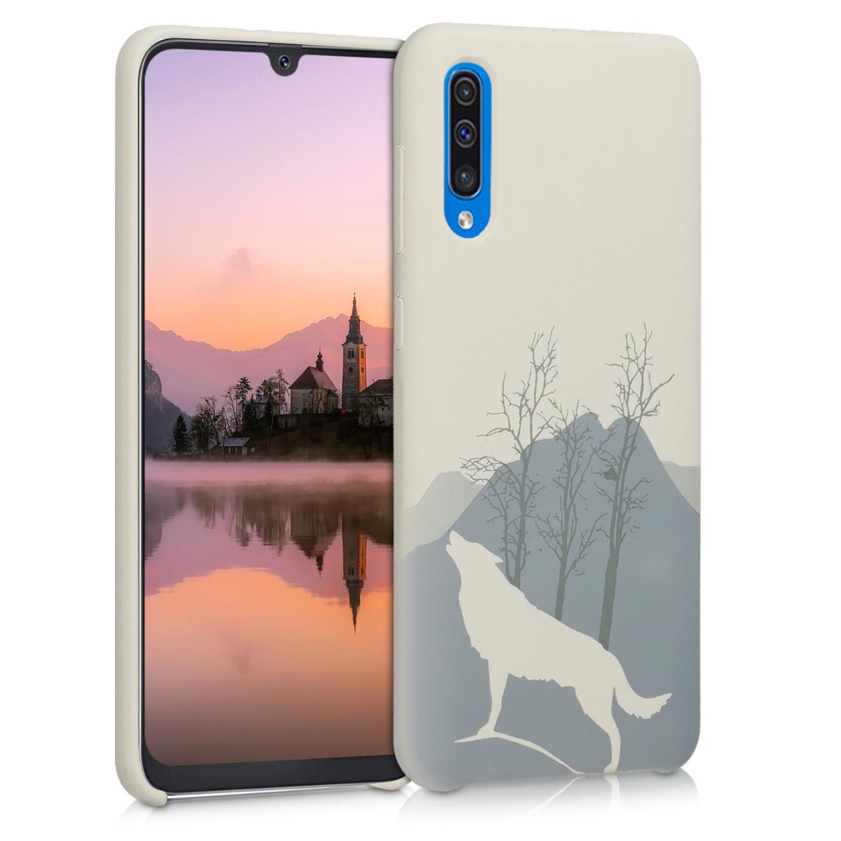KW Θήκη Σιλικόνης Samsung Galaxy A50 - Engraved Wolf - Light Grey (51125.01)