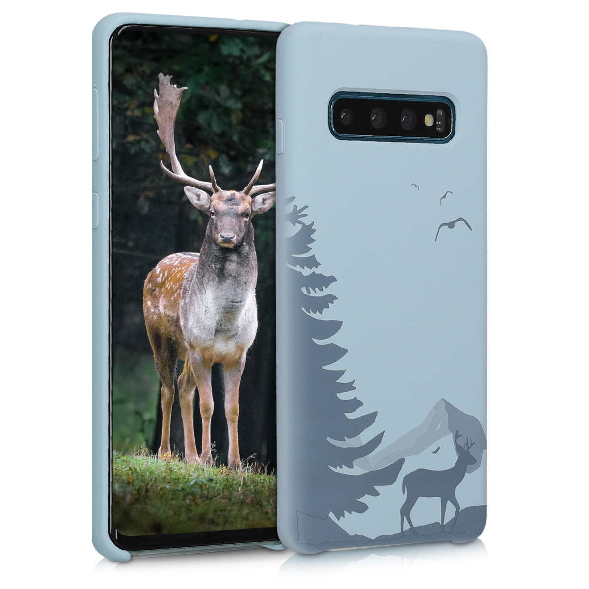 KW Θήκη Σιλικόνης Samsung Galaxy S10 - Engraved Deer - Light Blue (51127.01)
