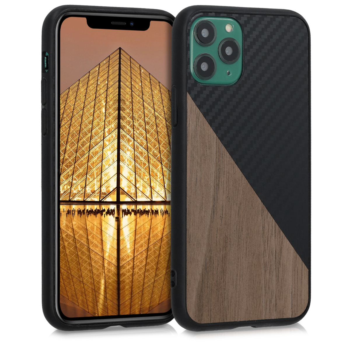KW Σκληρή Θήκη Apple iPhone 11 Pro - TPU Bumper and Wood / Carbon Fiber - Black / Dark Brown (51143.01)
