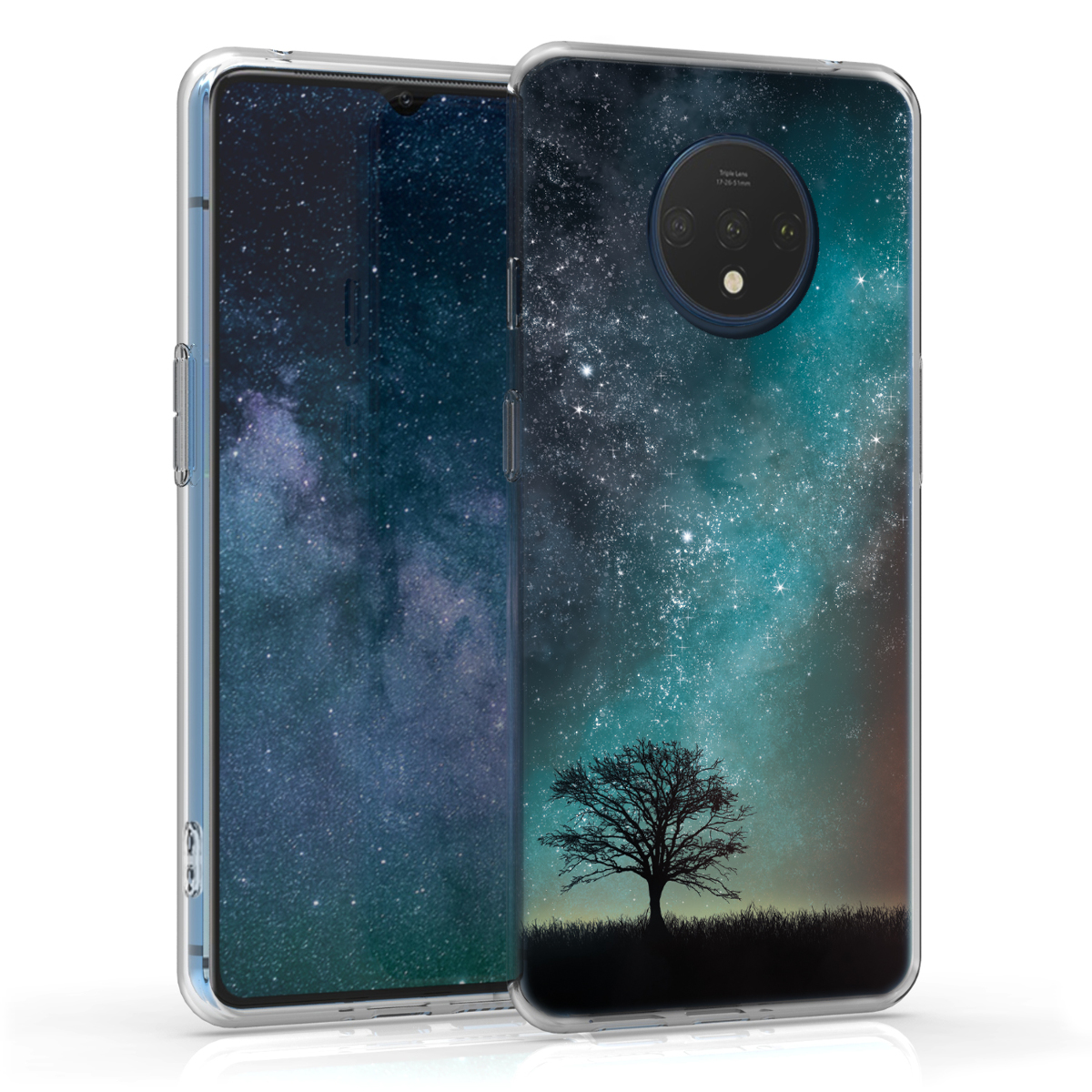 KW Θήκη Σιλικόνης OnePlus 7T - Cosmic Nature - Blue / Grey / Black (51154.01)