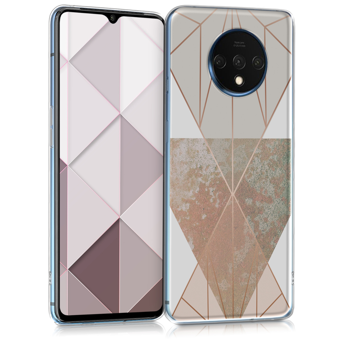 KW Θήκη Σιλικόνης OnePlus 7T - Triangular Shapes - Beige / Rose Gold / White (51154.02)