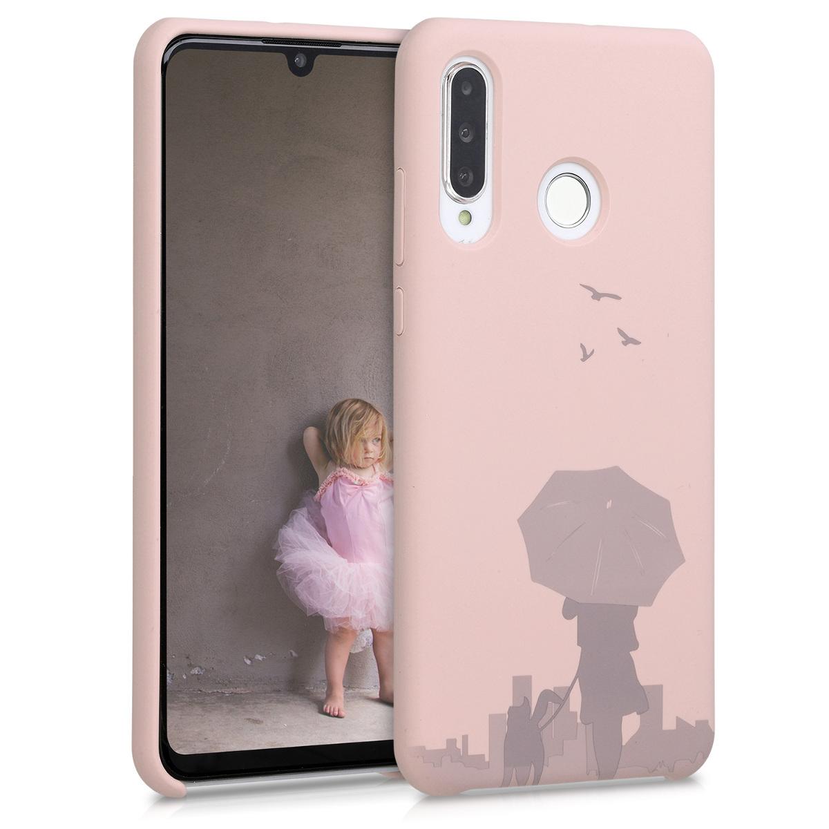 KW Θήκη Σιλικόνης Huawei P30 Lite - Laser Engraved Umbrella Dusty Pink (51167.03)