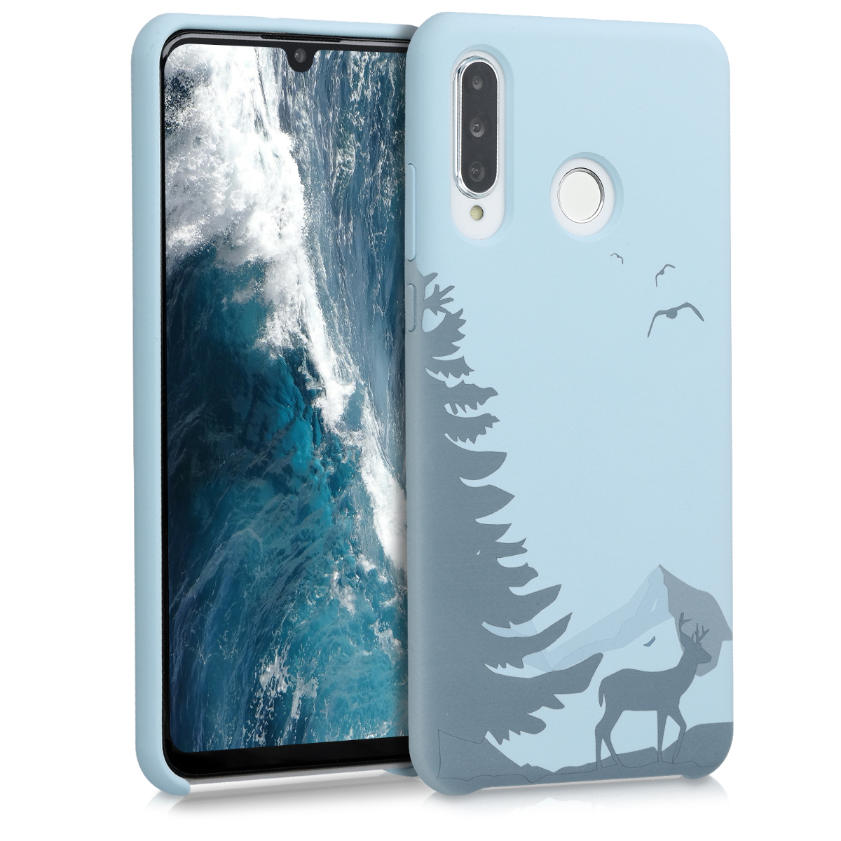 KW Θήκη Σιλικόνης Huawei P30 Lite - Laser Engraved Deer Light Blue (51167.04)