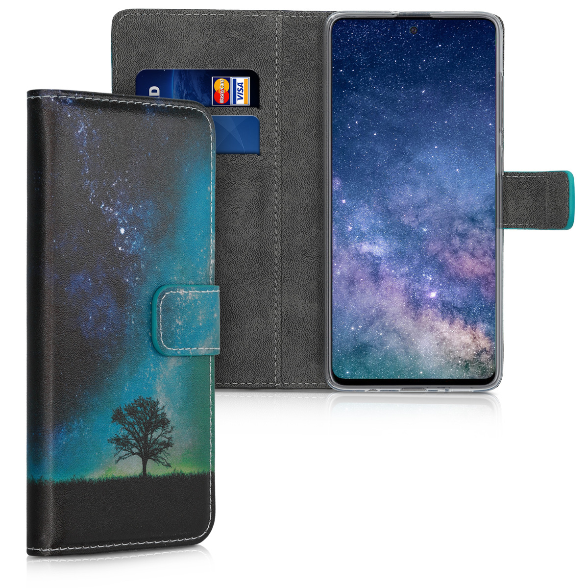 KW Θήκη - Πορτοφόλι Samsung Galaxy A71 - PU Leather Protective Flip Cover - Cosmic Nature - Blue / Grey / Black (51205.02)