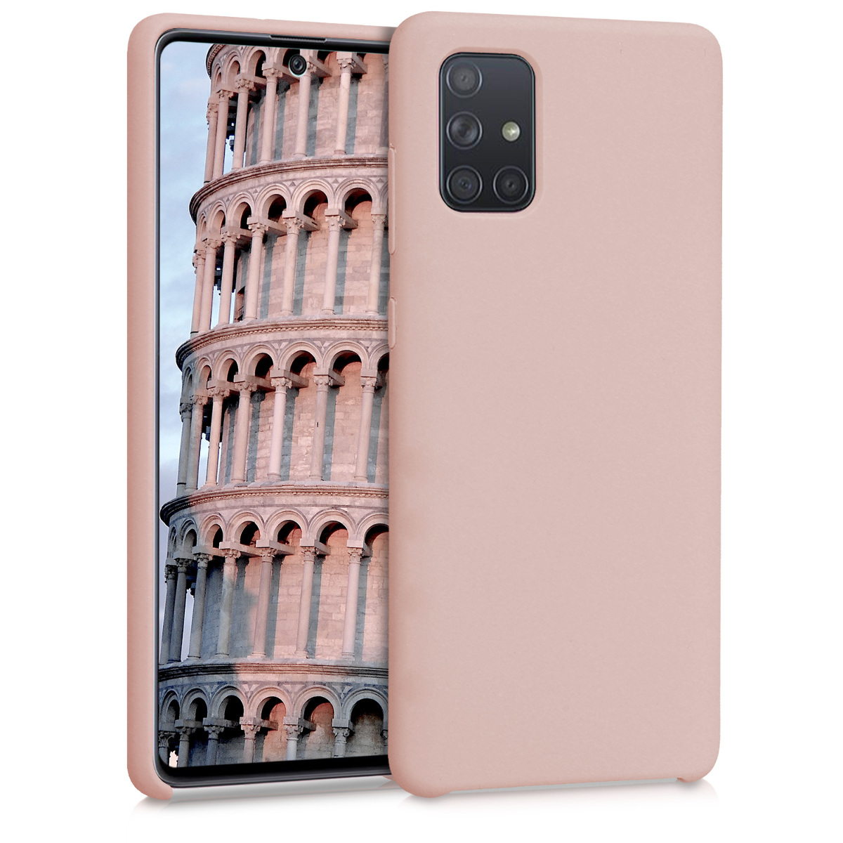 KW Θήκη Σιλικόνης Samsung Galaxy A71 - Soft Flexible Rubber Protective Cover - Antique Pink Matte (51209.52)