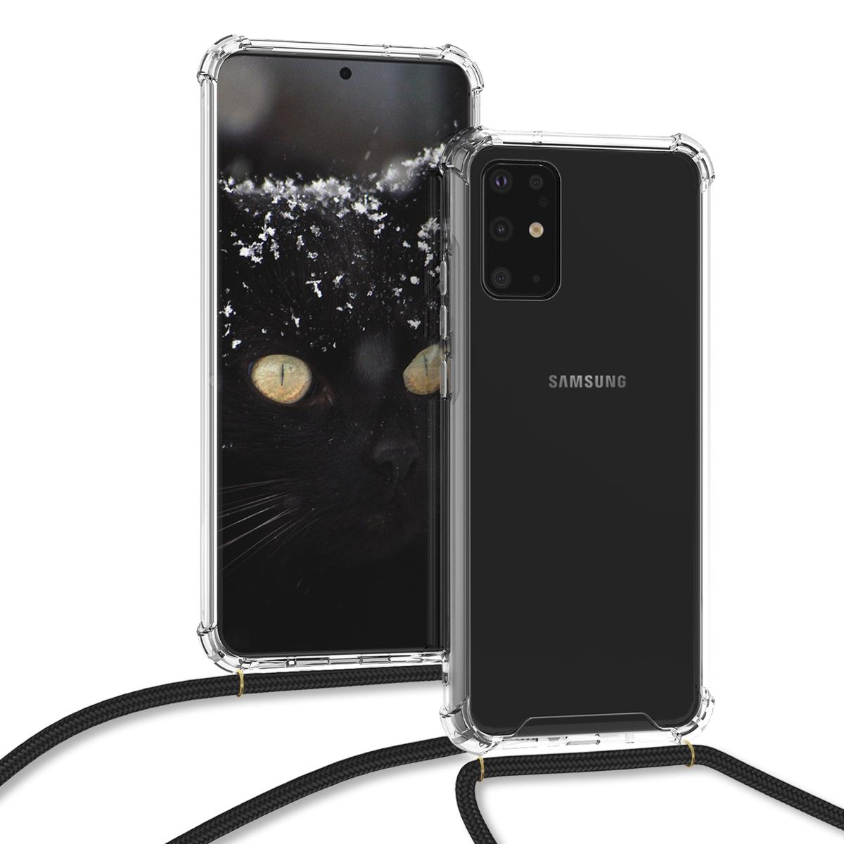 KW Θήκη Σιλικόνης με Λουράκι Λαιμού Samsung Galaxy S20 Plus - Black / Transparent (51223.01)