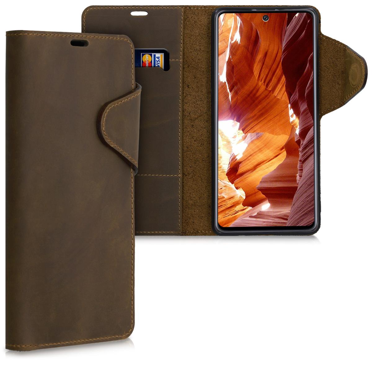 Kalibri Δερμάτινη Suede Θήκη - Πορτοφόλι Samsung Galaxy A71 - Brown (51291.05)