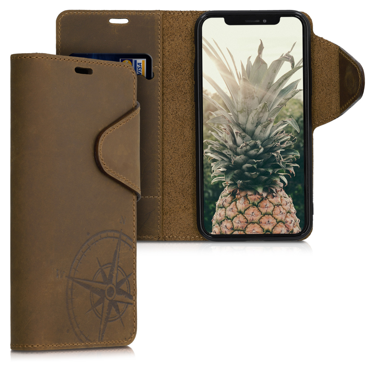Kalibri Δερμάτινη Suede Θήκη - Πορτοφόλι Apple iPhone 11 Pro - Navigational Compass - Brown (51353.01)