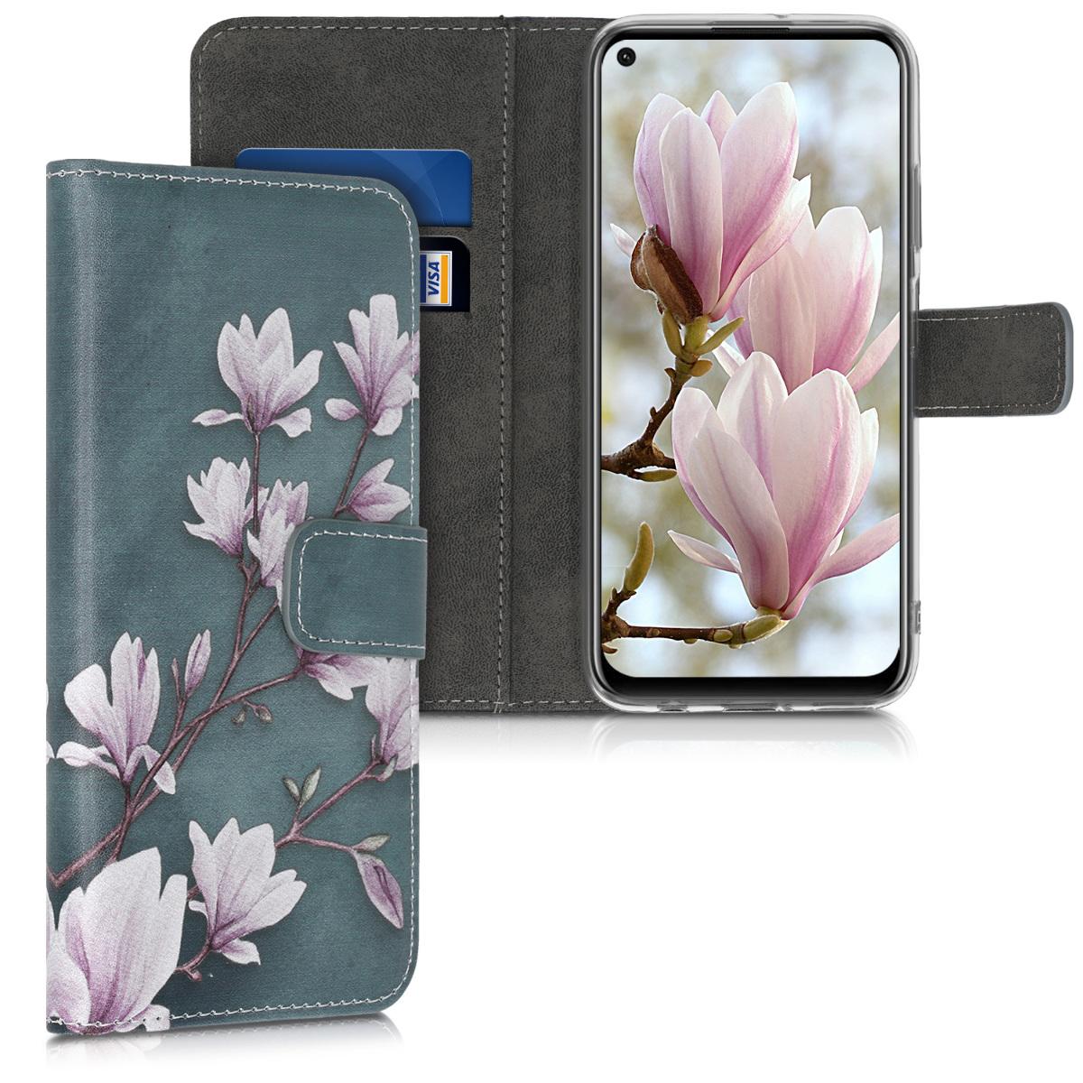 KW Θήκη Πορτοφόλι Huawei P40 Lite - Magnolias Taupe / White / Blue Grey (51487.01)
