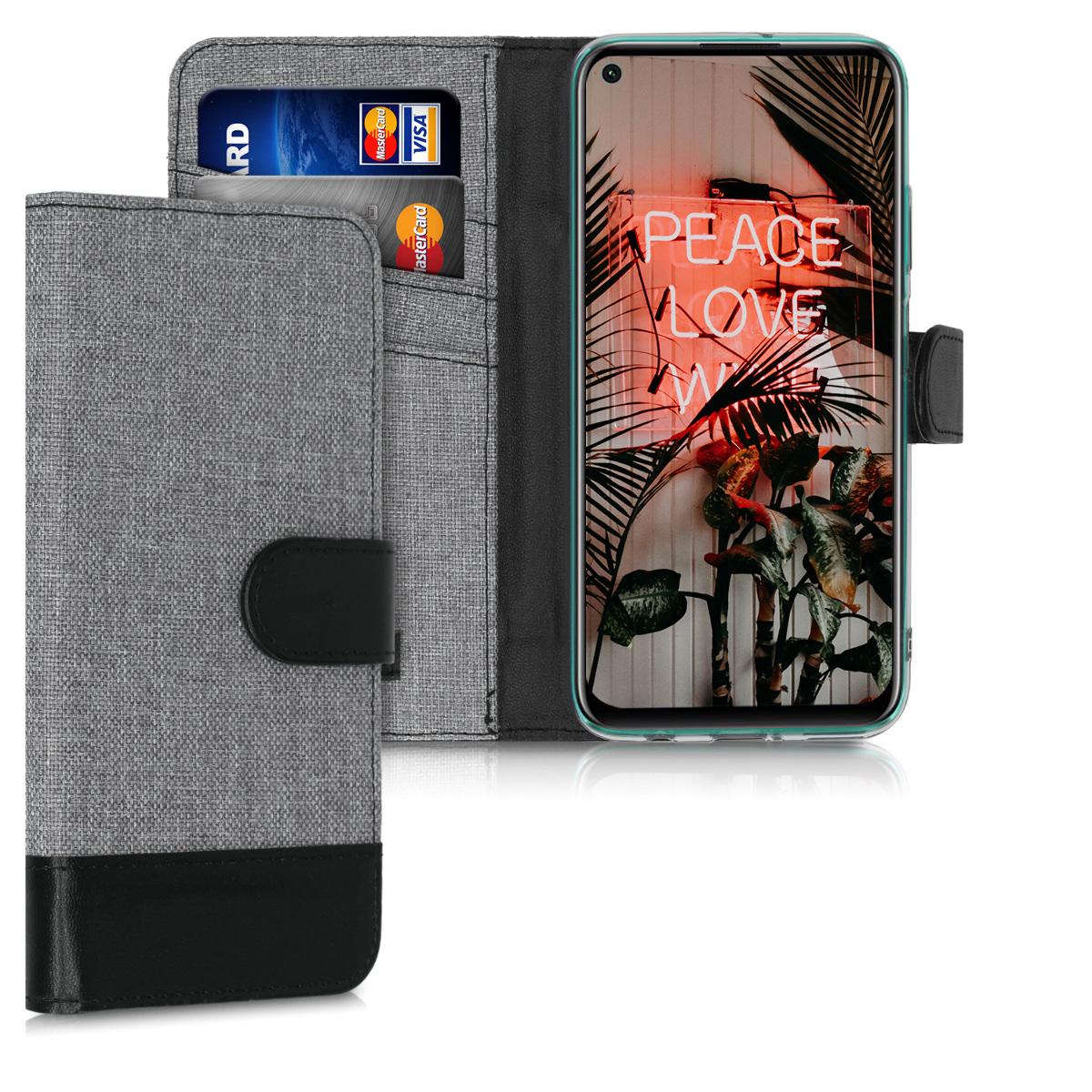 KW Θήκη Πορτοφόλι Huawei P40 Lite - Grey / Black (51497.22)
