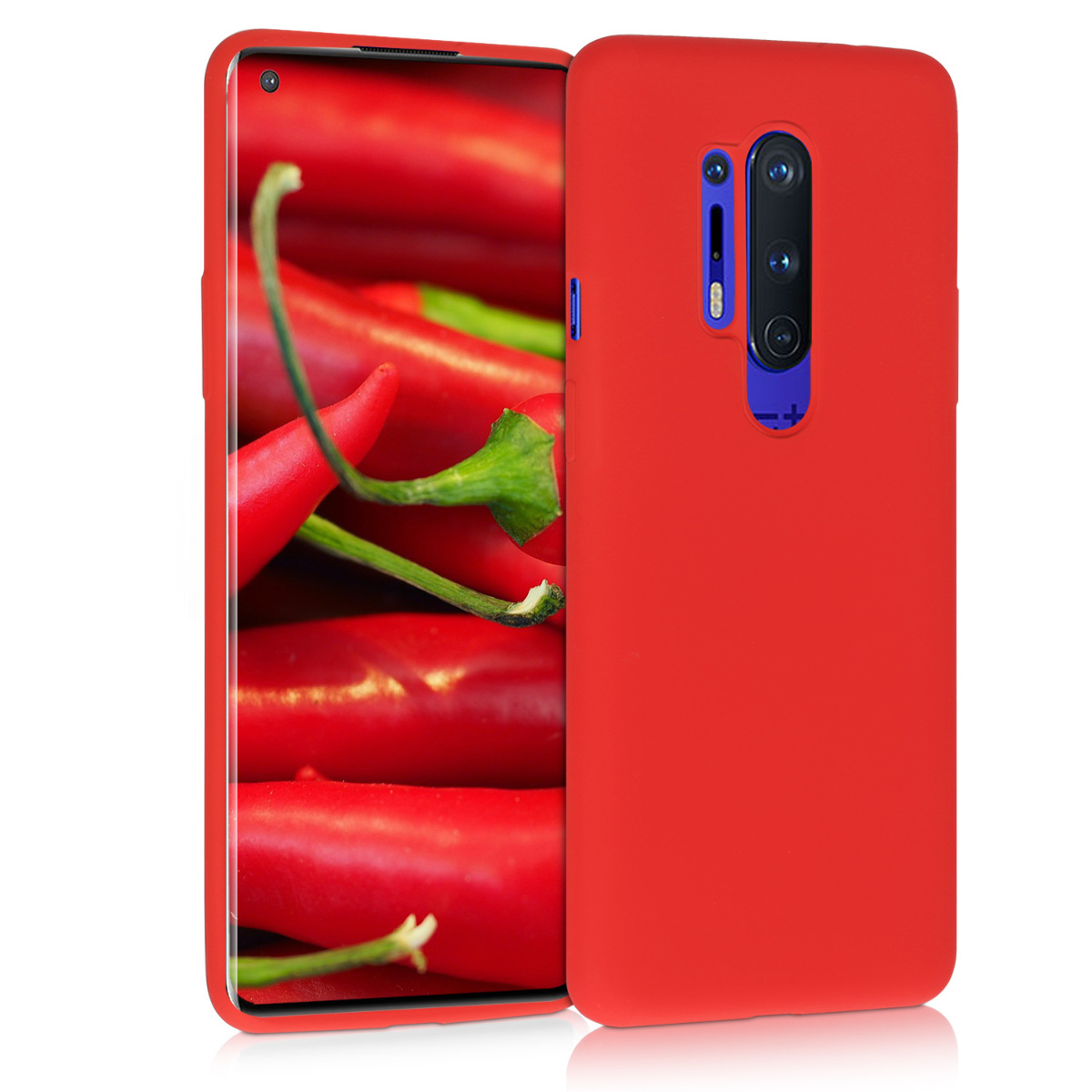 KW Θήκη Σιλικόνης OnePlus 8 Pro - Soft Flexible Rubber Protective Cover - Red (51714.09)