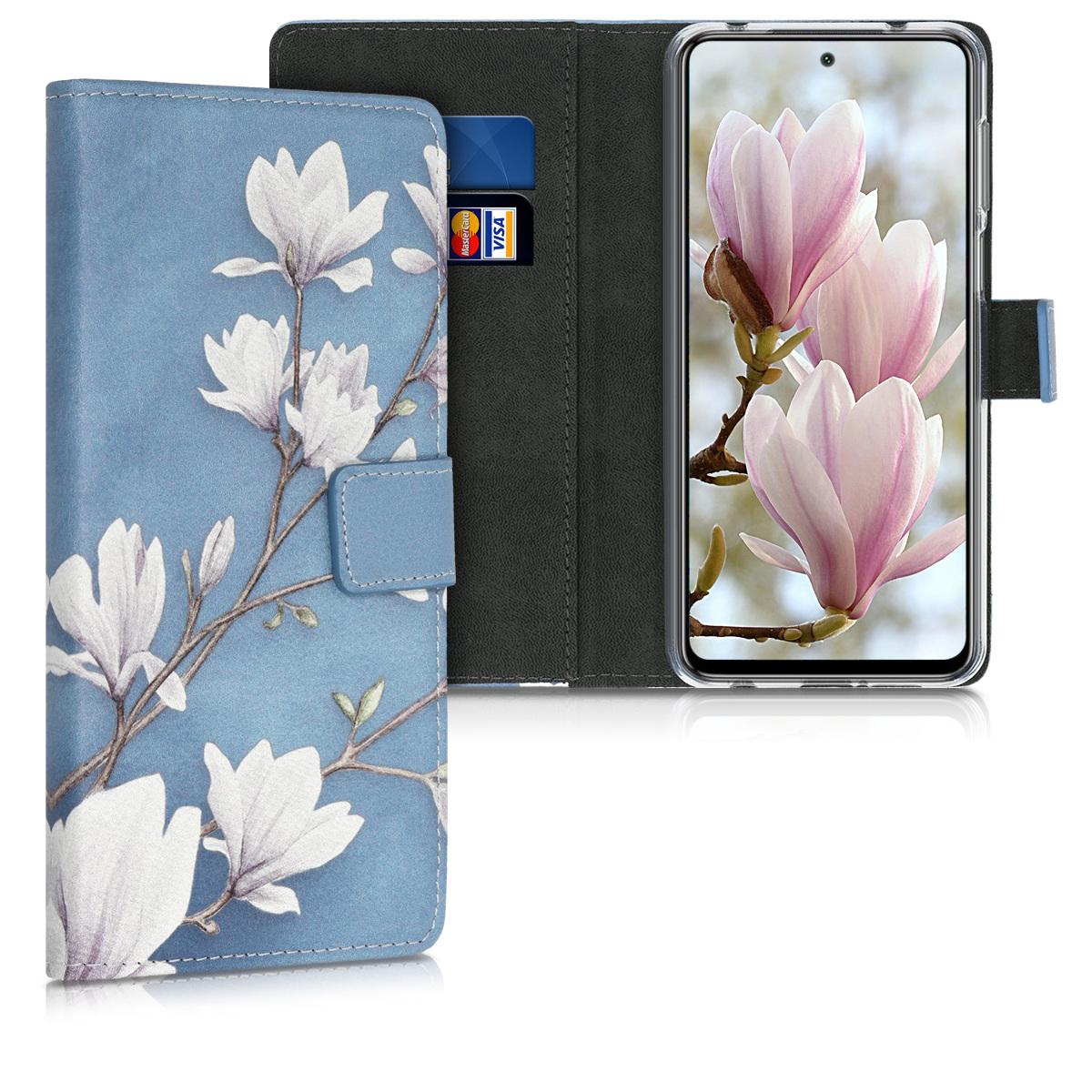 KW Θήκη Πορτοφόλι Xiaomi Redmi Note 9S / 9 Pro / 9 Pro Max - Magnolias Taupe / White / Blue Grey (52151.01)