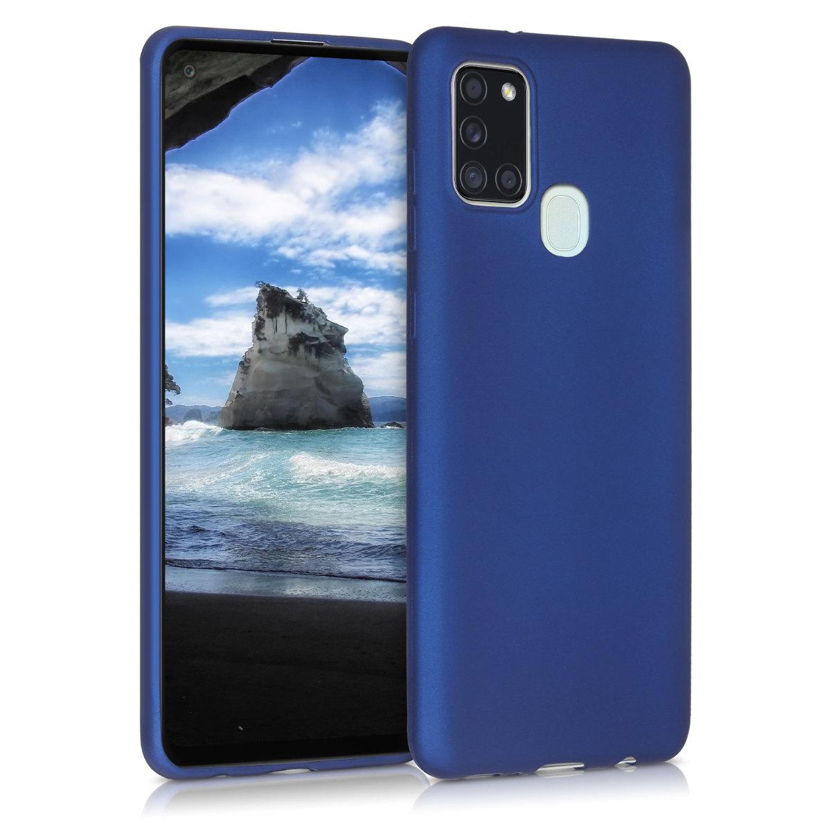 KW Θήκη Σιλικόνης Samsung Galaxy A21s - Metallic Blue (52495.64)