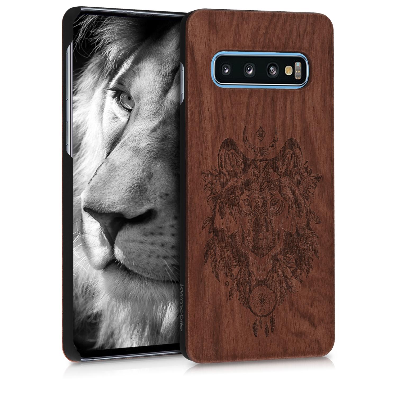 KW Σκληρή Ξύλινη Θήκη Samsung Galaxy S10 - Brown / Wolf (47933.02)