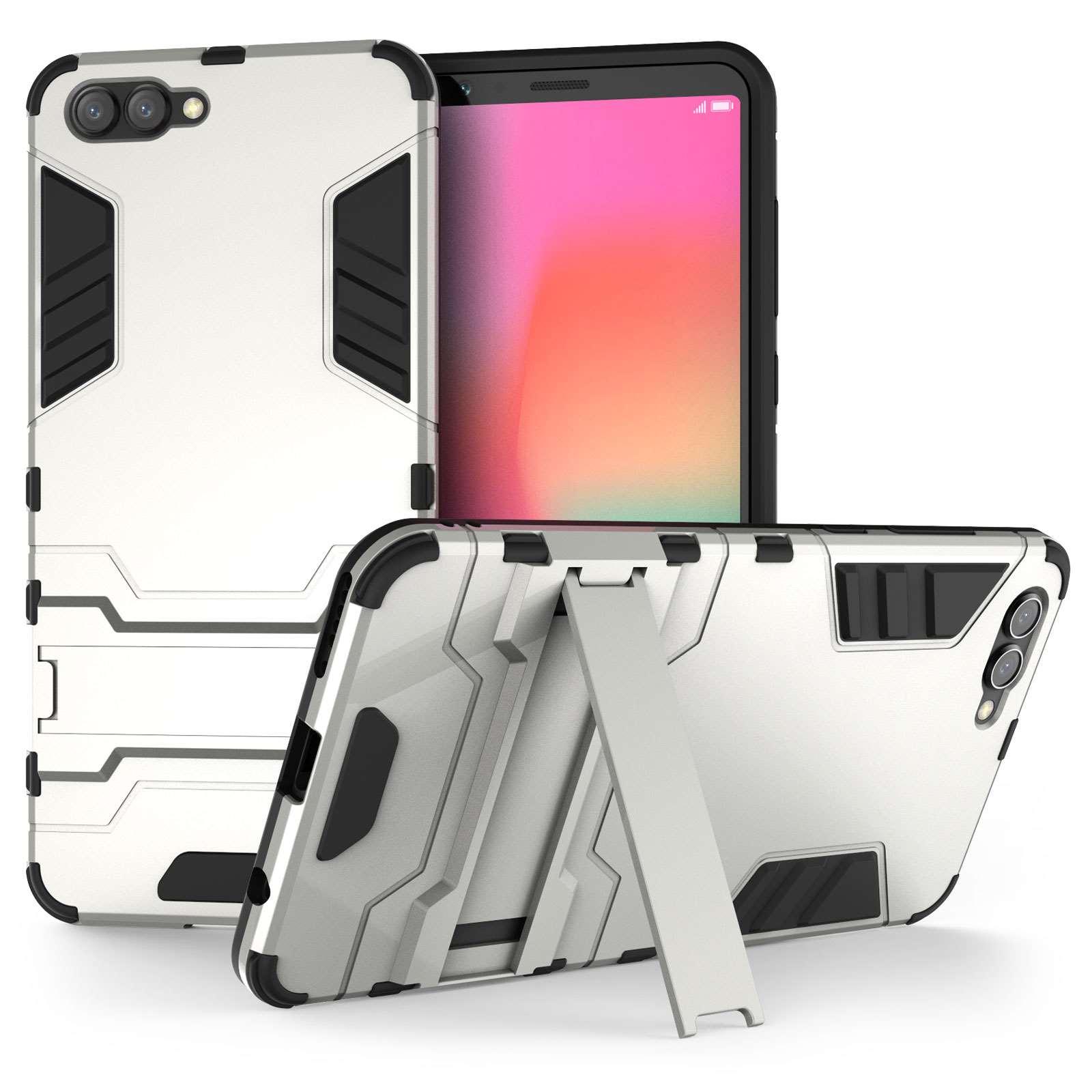 Caseflex Ανθεκτική Dual Layer Θήκη με Stand Honor View 10 - Steel Silver & Screen Protector (HU-AW03-Z508)