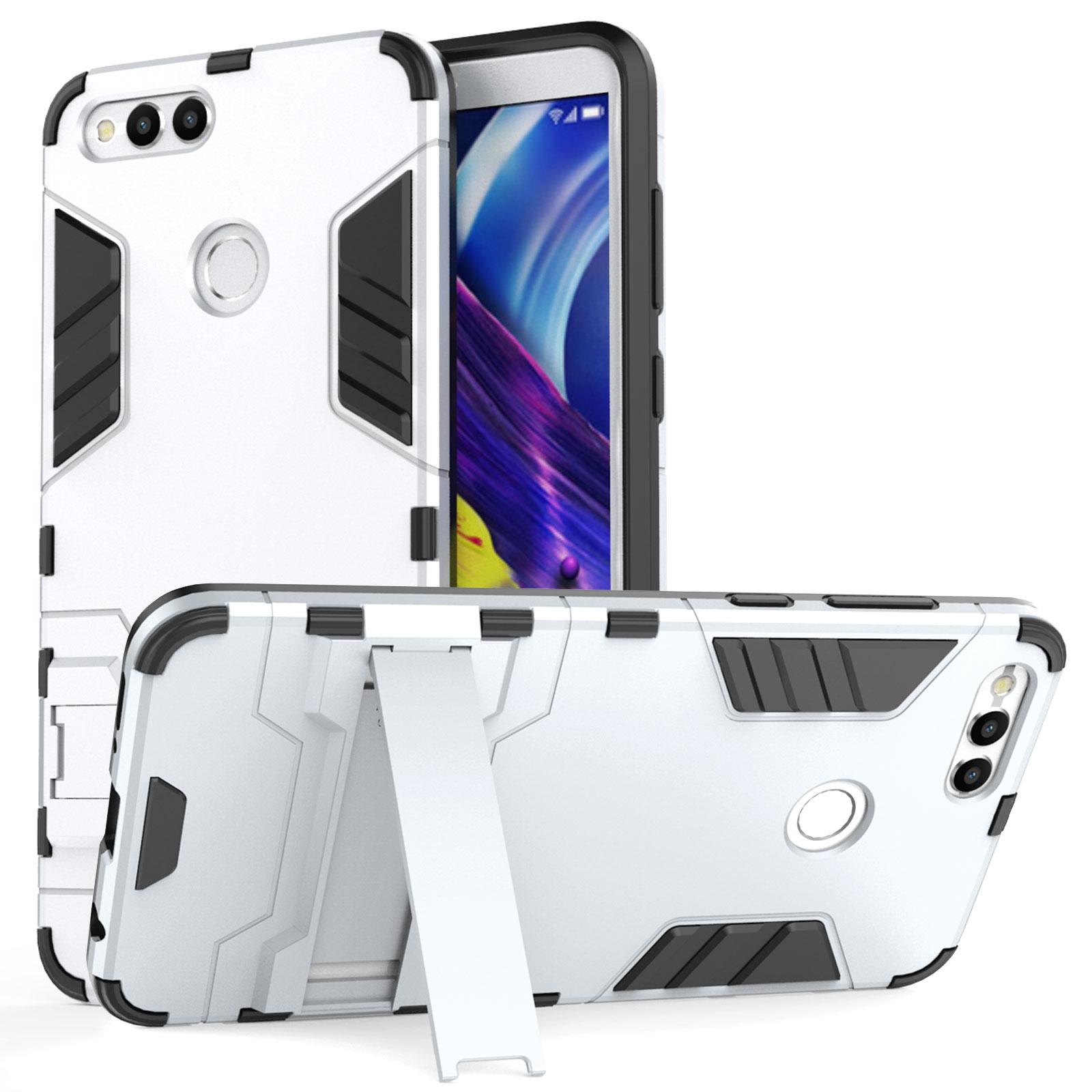 Caseflex Ανθεκτική Dual Layer Θήκη με Stand Honor 7x - Steel Silver & Screen Protector  (HU-AW03-Z529)