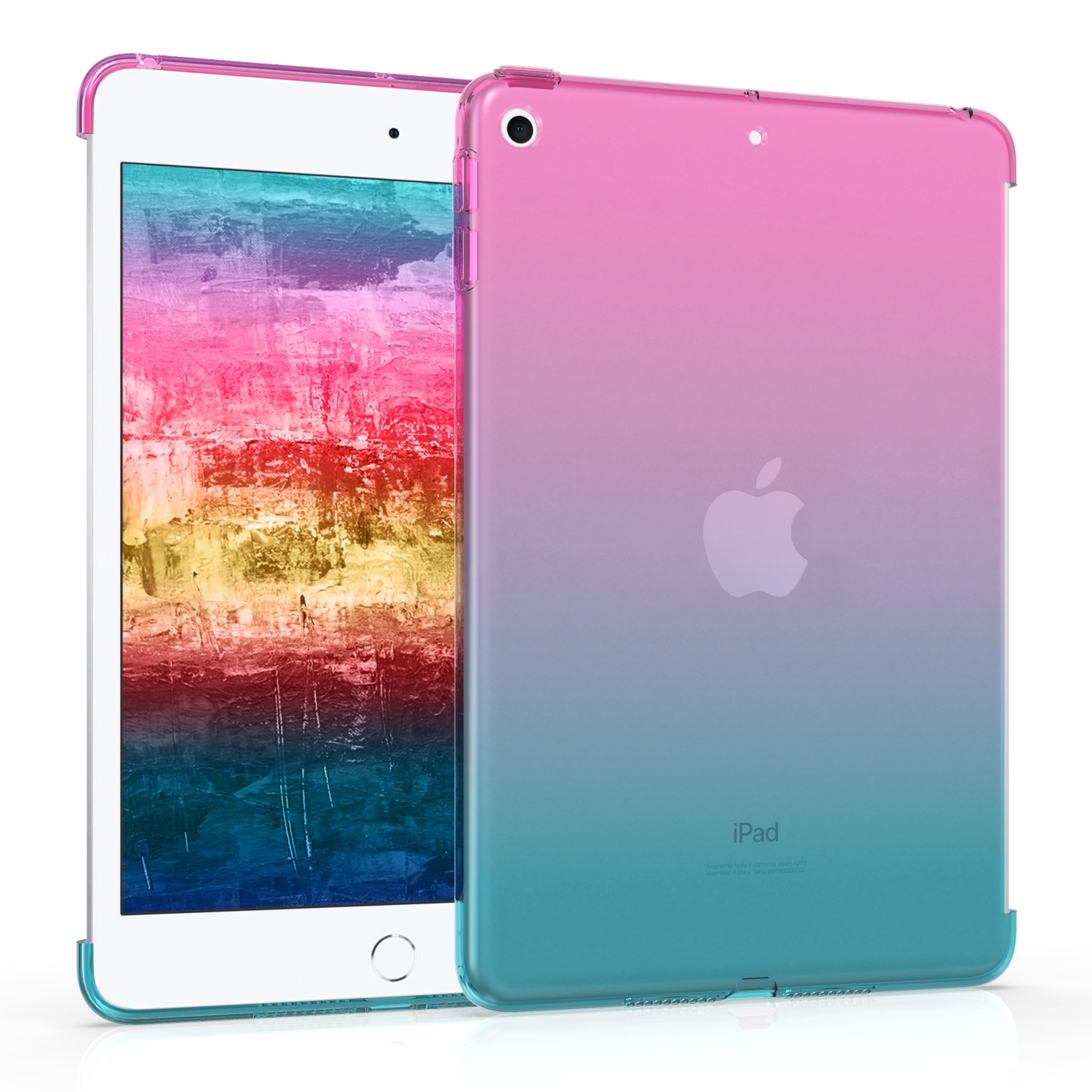 KW Θήκη Σιλικόνης Apple iPad Mini 5 2019 - TPU Smart Cover Compatible Tablet Cover - Dark Pink / Blue / Transparent (50106.01)