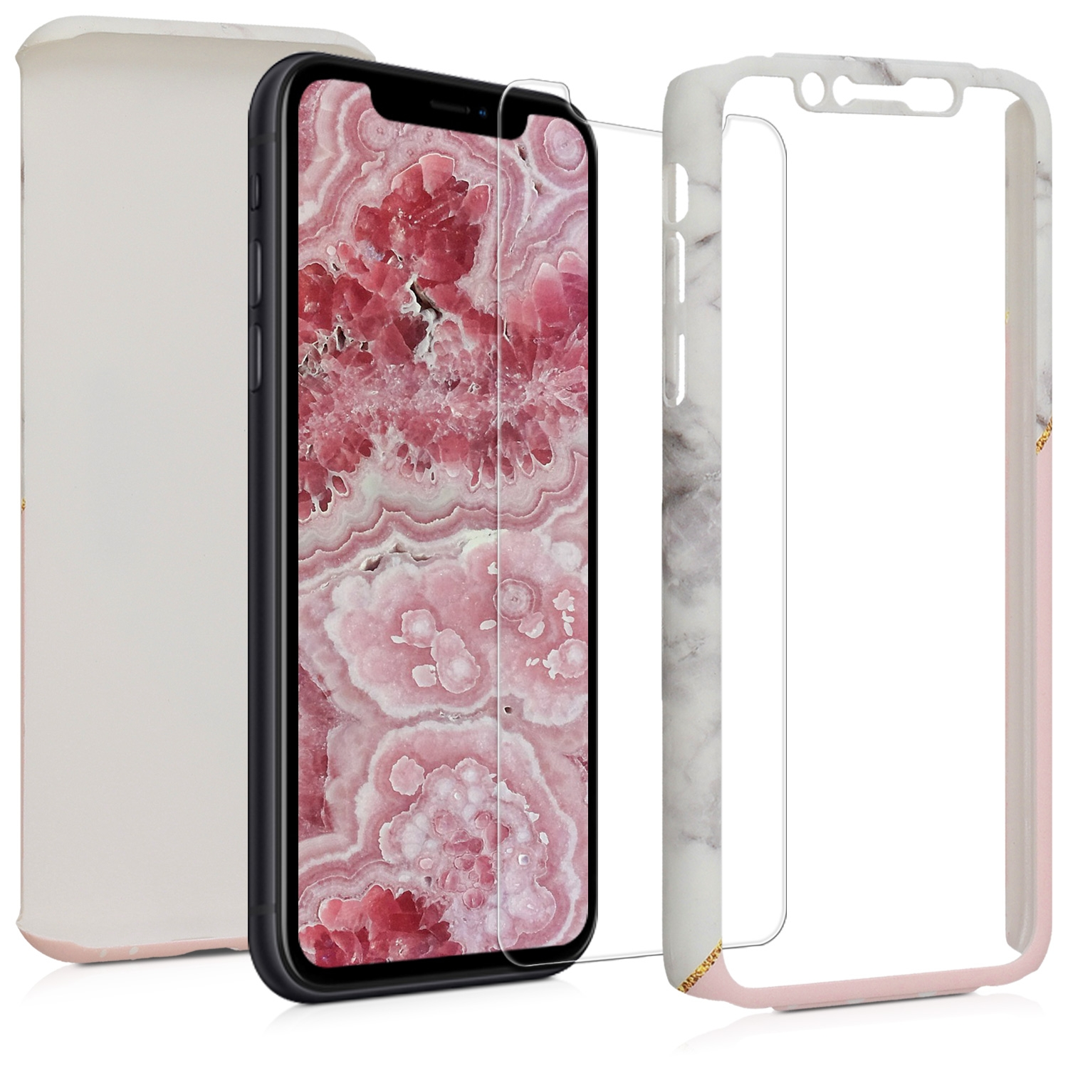KW Θήκη Full Body Apple iPhone XR - Screen Protection - White / Dusty Pink / Gold (48202.01)