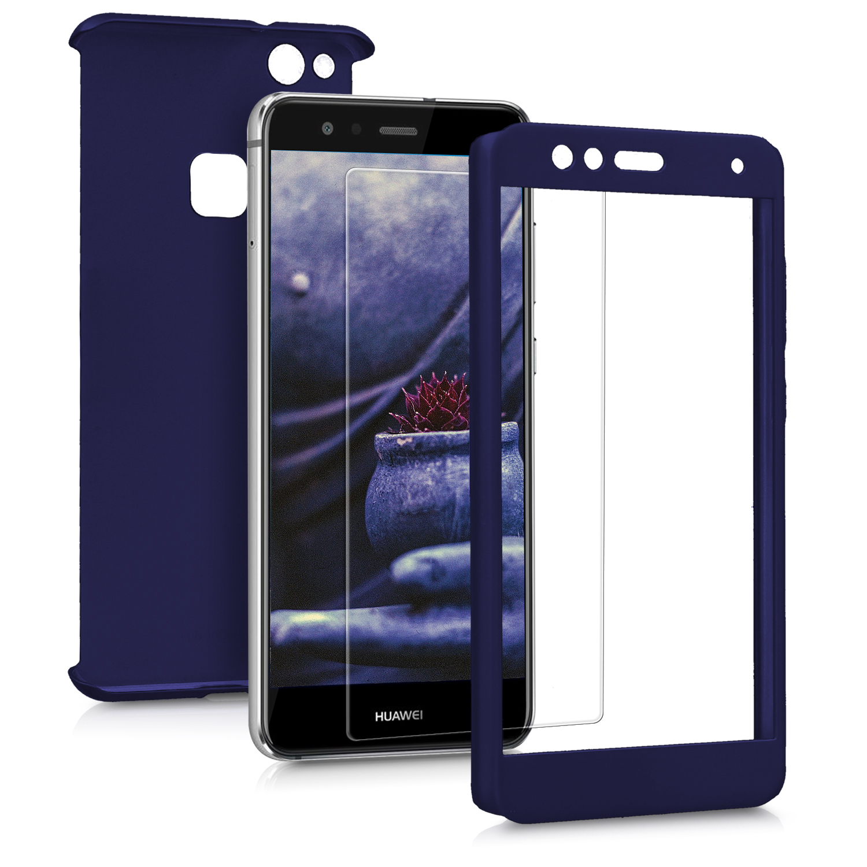 KW Θήκη Full Body για Huawei P10 Lite & Tempered Glass - Metallic Dark Blue (43763.99)