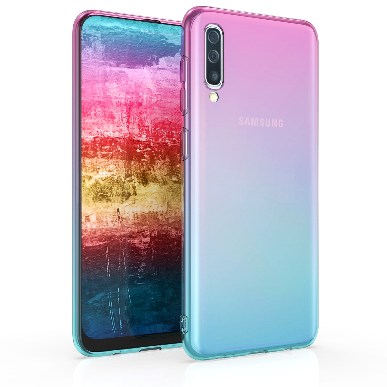 KW Θήκη Σιλικόνης Samsung Galaxy A50 - Bicolor Design, Dark Pink / Blue / Transparent (48063.01)