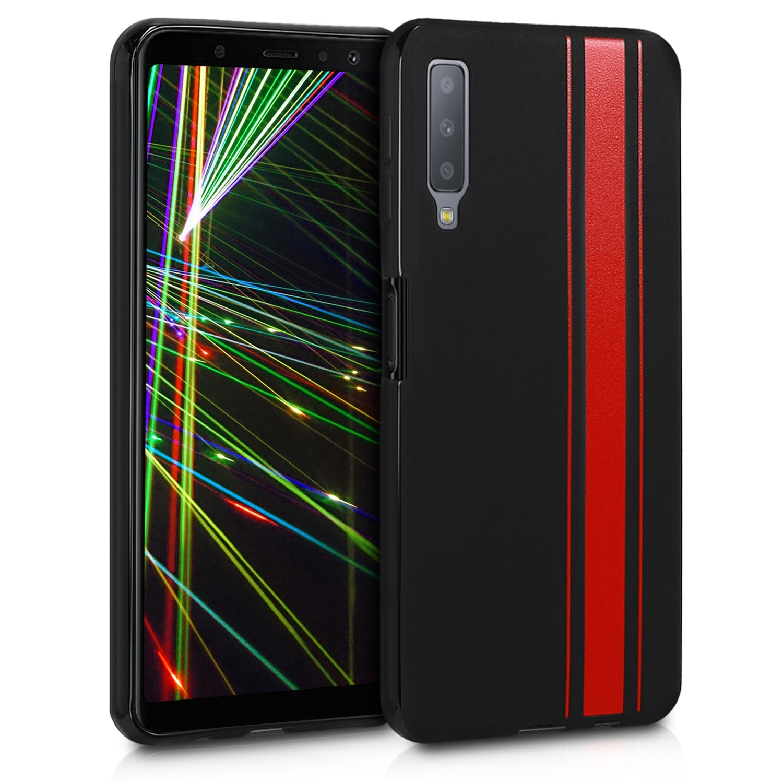 KW Θήκη Σιλικόνης Samsung Galaxy A7 (2018) - Soft Flexible Shock Absorbent - Red / Black (47516.01)