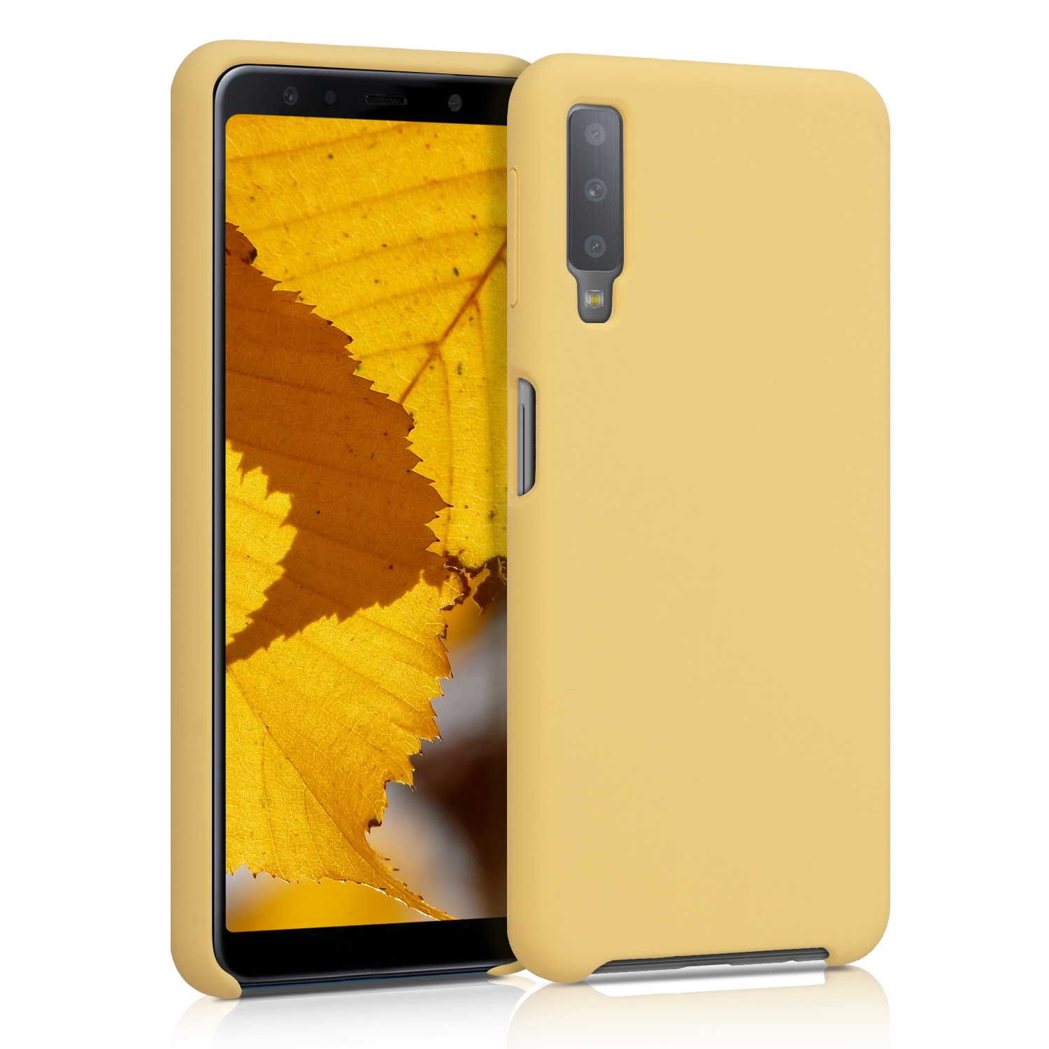 KW Θήκη Σιλικόνης Samsung Galaxy A7 2018 - Soft Flexible Rubber Protective Cover - Pastel Yellow Matte (47730.119)