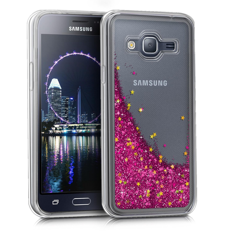 KW Διάφανη Θήκη Σιλικόνης Samsung Galaxy J3 2016 - Pink Liquid Glitter (41867.02)