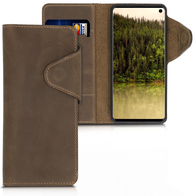 Kalibri Θήκη Suede Πορτοφόλι Samsung Galaxy S10 - Brown (47453.05)