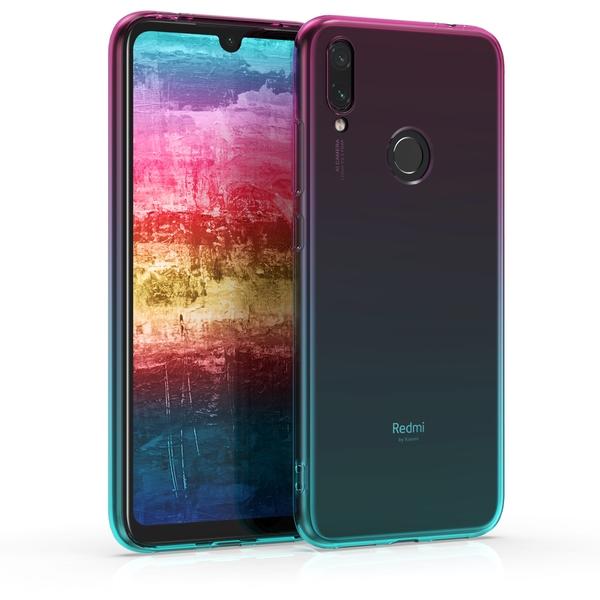 KW Θήκη Σιλικόνης Xiaomi Redmi Note 7 / Note 7 Pro - Bicolor Dark Pink / Blue / Transparent (47919.01)