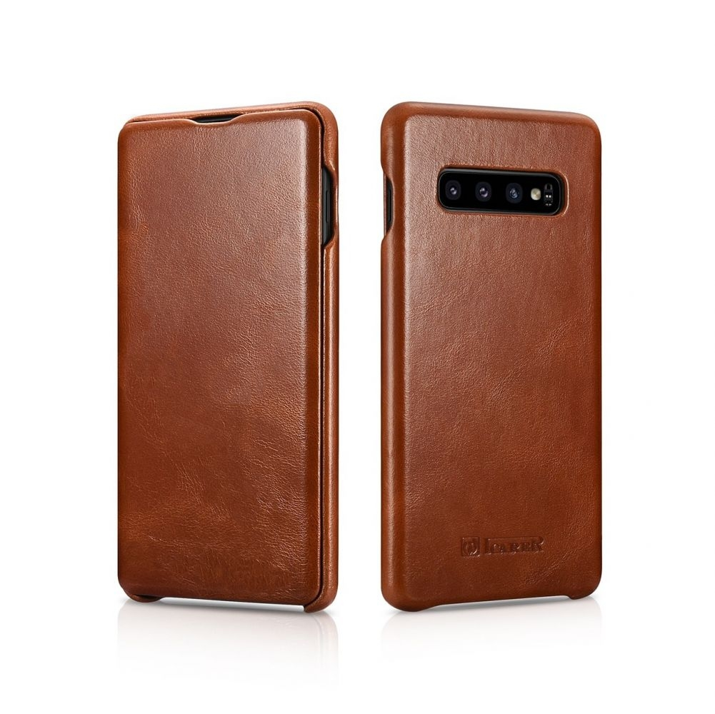 iCarer Vintage Series Side-Open Δερμάτινη Θήκη Samsung Galaxy S10 - Brown (RS99205-BN)