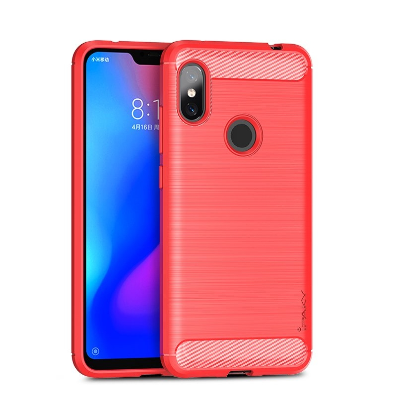 Ipaky Θήκη TPU Carbon Xiaomi Redmi Note 6 Pro - Red (44541)