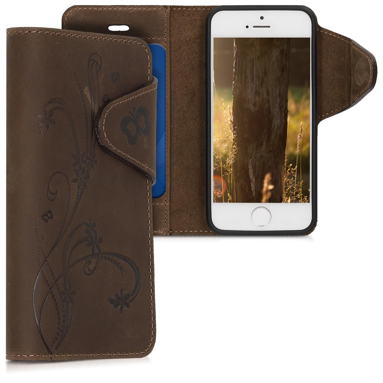 Kalibri Δερμάτινη Suede Θήκη - Πορτοφόλι Apple iPhone SE / 5 / 5S - Brown (46746.03)
