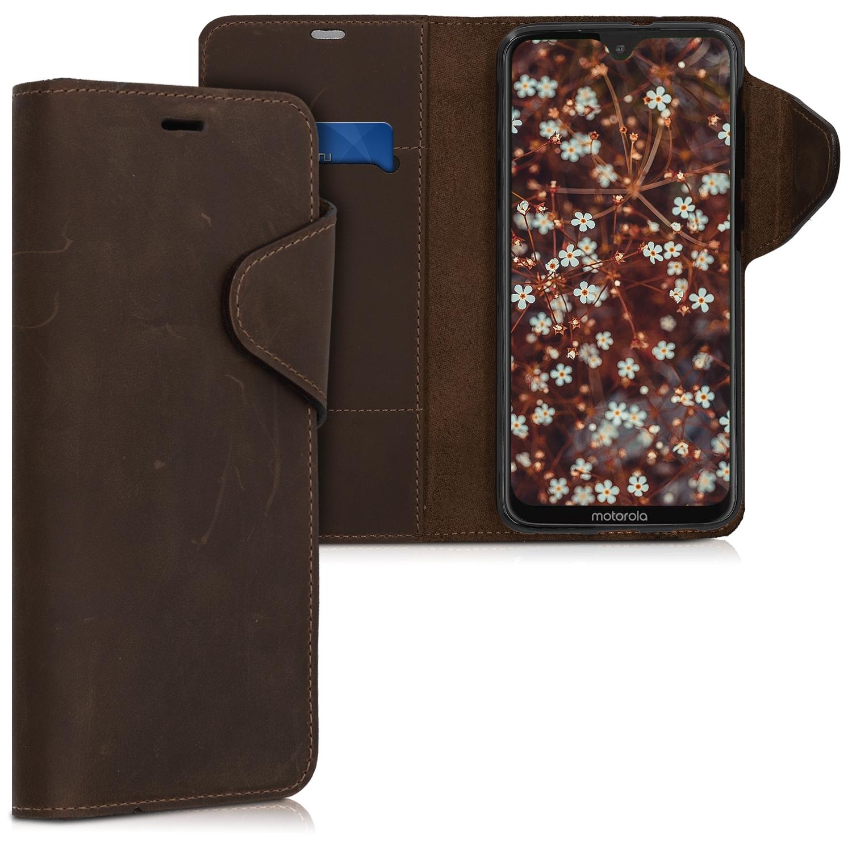 Kalibri Δερμάτινη Suede Θήκη - Πορτοφόλι Motorola Moto G7 / Moto G7 Plus - Brown (47650.05)