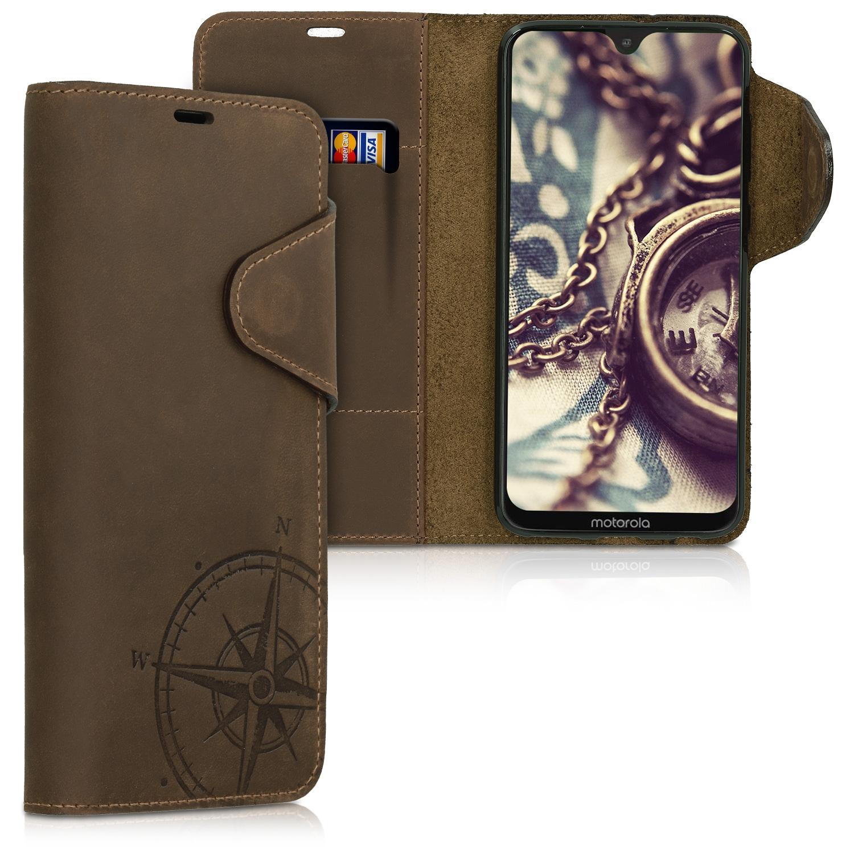 Kalibri Δερμάτινη Suede Θήκη - Πορτοφόλι Motorola Moto G7 / Moto G7 Plus - Brown (47651.01)