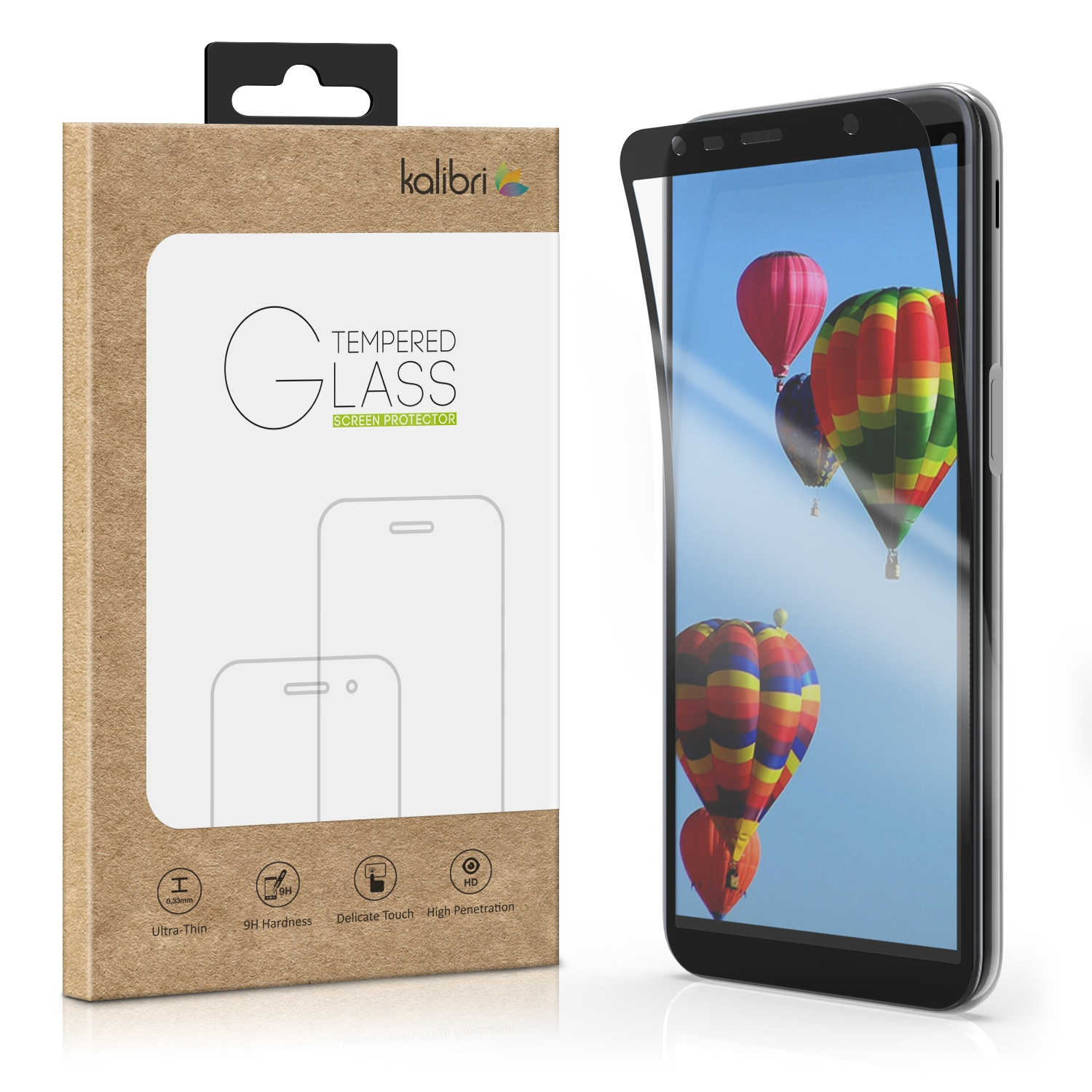 Kalibri Tempered Glass - Flexible Fullface Αντιχαρακτικό Γυαλί Οθόνης Samsung Galaxy J6 Plus 2018 - Black Frame (47374.01)