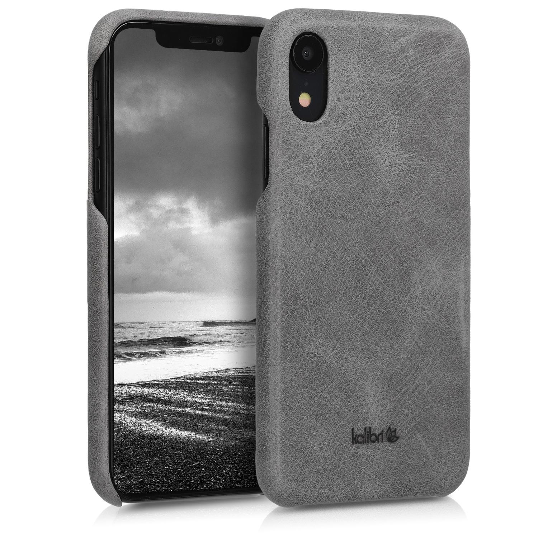 Kalibri Σκληρή Δερμάτινη Θήκη iPhone XR - Dark Grey (45955.19)