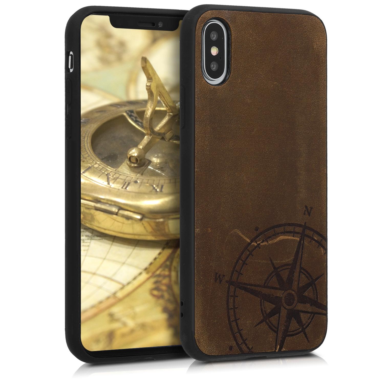 Kalibri Σκληρή Δερμάτινη Θήκη iPhone XS - Brown (47693.01)
