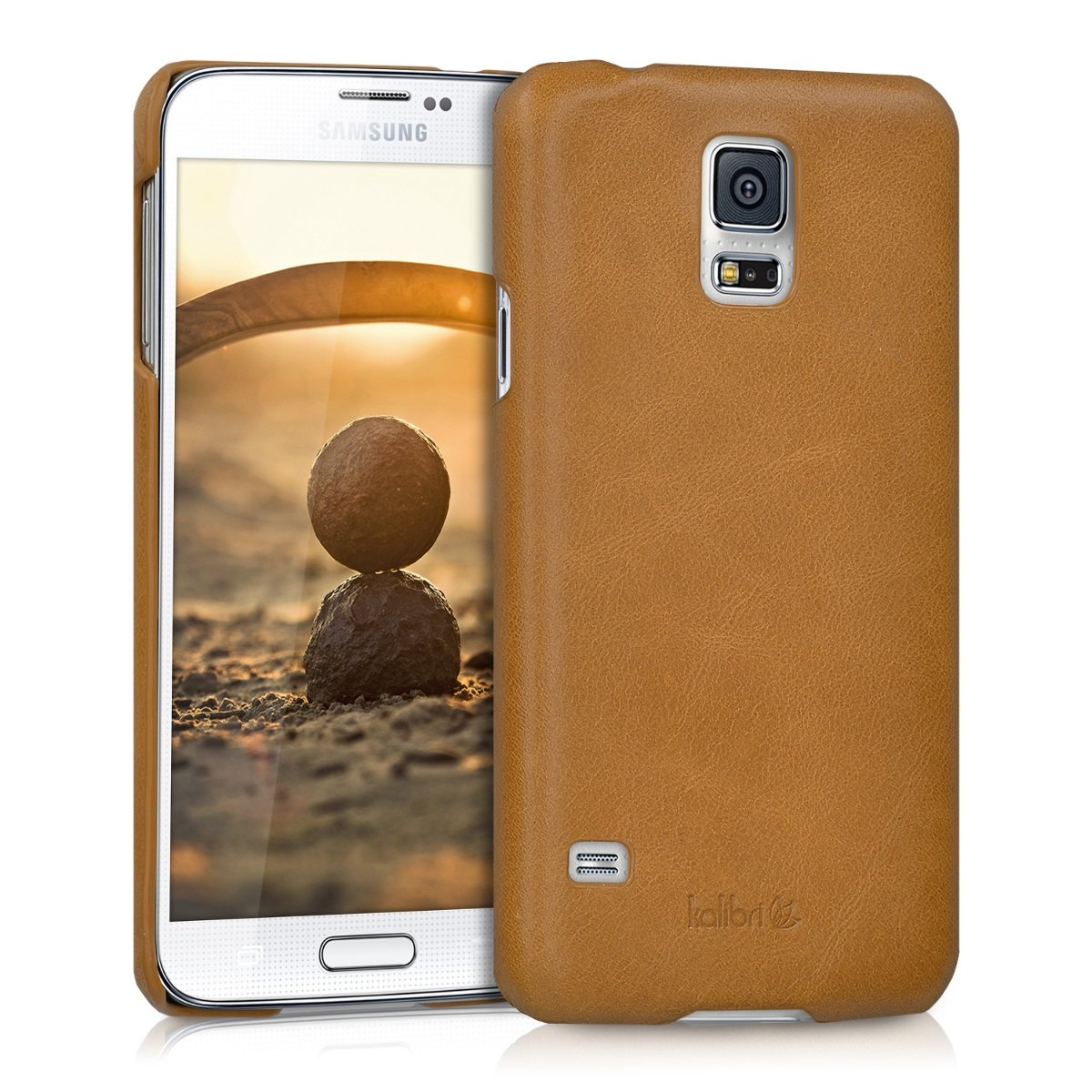 Kalibri Δερμάτινη Θήκη Samsung Galaxy S5 / S5 Neo - Cognac (38963.83)